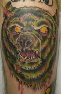 Zombie bear tattoo
