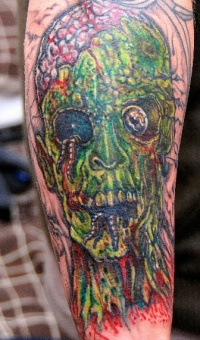 Zombie head tattoo