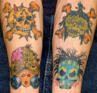 Zombies and skulls tattoo