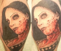 Zombie brunette tattoo